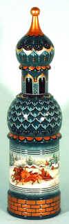 Бутылка с алкоголем внутри расписного футляра становится особенно оригинальным и деликатным подарком. Футляры бывают в виде матрешки пустой внутри, в виде цилиндров, яиц или в виде архитектурных сооружений. Виды росписи – самые разнообразные.